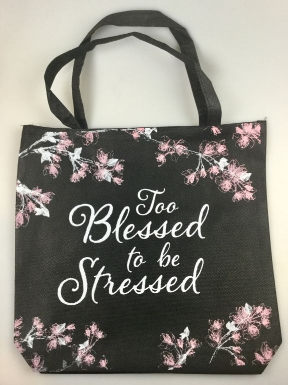 Too Blessed to be Stressed Tote Bag | Christian Tote Bags