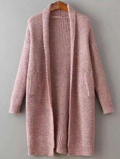 Langer Strick-Mantel Drop Schulter Schalkragen - rosa