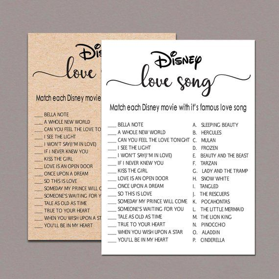 Disney Love Song Game   Printable Instant Download   Rustic