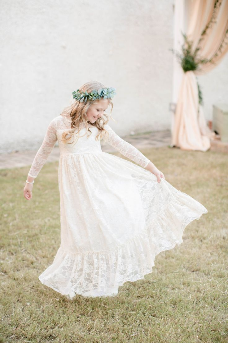Bohemian flower girl, lace long sleeved flower girl dress, eucalyptus flower crown, romantic fall wedding, Beaufort, SC, see more on borrowedandblue.com! //  Amy J. Owen Photography