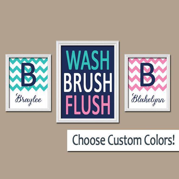 Brother Sister BATHROOM Wall Art, CANVAS or Prints Boy Girl Bathroom Personalized Name WASH Brush Flush Set of 3 Chevron Bathroom