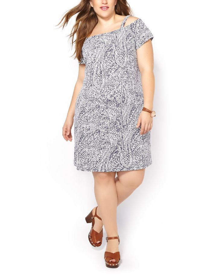 Showcase your inner bohemian in this gorgeous plus-size dress! It features a stylish off-the-shoulder design with adjustable straps and short sleeves, as well as a trendy print and flattering dual-layered silhouette. Team it with your best sandals on a hot day!