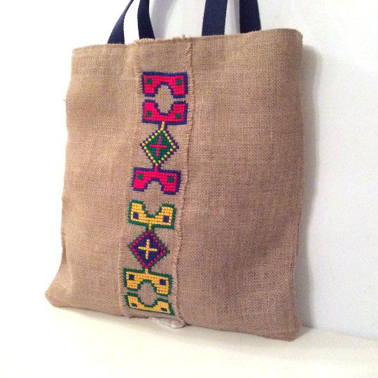 Tribal, burlap tote bag, cross stitched with tribal pattern by hand, one of a kind  tote bag, handmade, Casual Tote Bag by Apopsis on Etsy