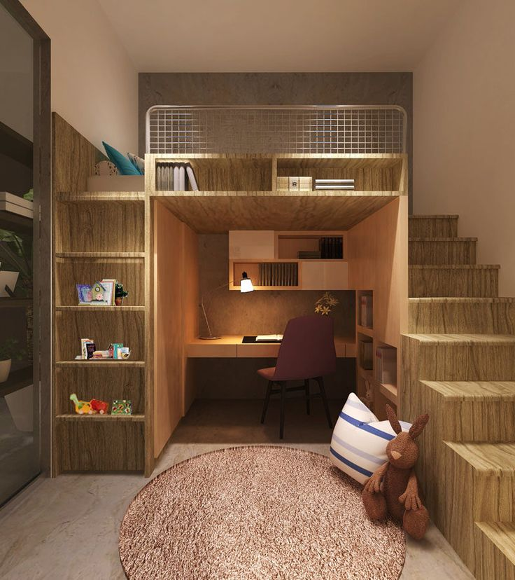 14 Inspirational Bedroom Ideas For Teenagers // This loft bed tucks the desk deeper into the room and provides extra storage for books and…