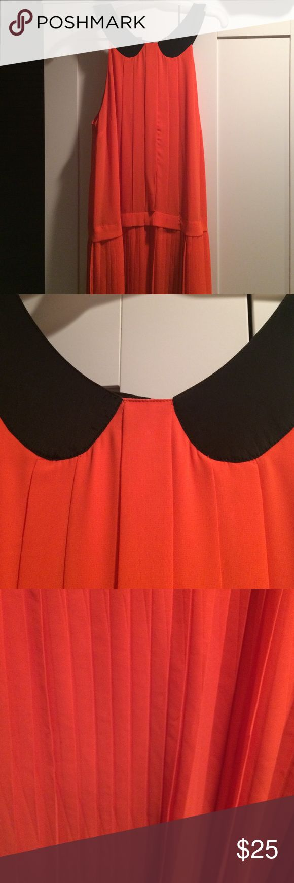 W118 by Walter Baker dress Orange and black dropwaist dress with pleated skirt W118 by Walter Baker Dresses Midi