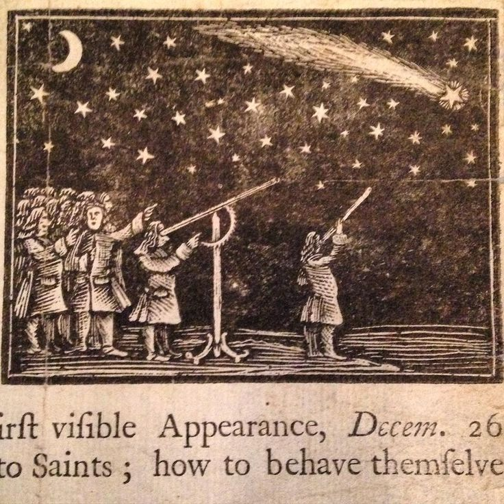 This cut of men stargazing appears on a 1744 Boston broadside reporting the appearance of a comet. Known today as one of the Great Comets, this comet was bright enough to be seen during the day and it had a spectacular tail with six segments. The broadside postulates that the celestial event is a signal of God's wrath, tying it to plague in England and war in Europe. The only known copy of the broadside is at AA