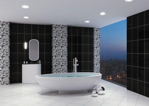 Siyah Beyaz Şık Bir Banyo