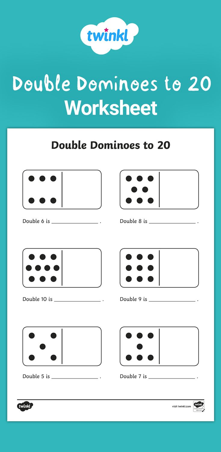 Double Dominoes To 20 Worksheet Fun Math Worksheets Teaching Doubles Math For Kids Year addition worksheets twinkl