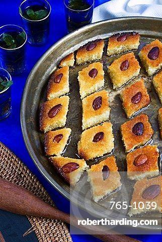 Basbousa, Egyptian semolina cake, Middle Eastern food, Egypt, North Africa, Africa