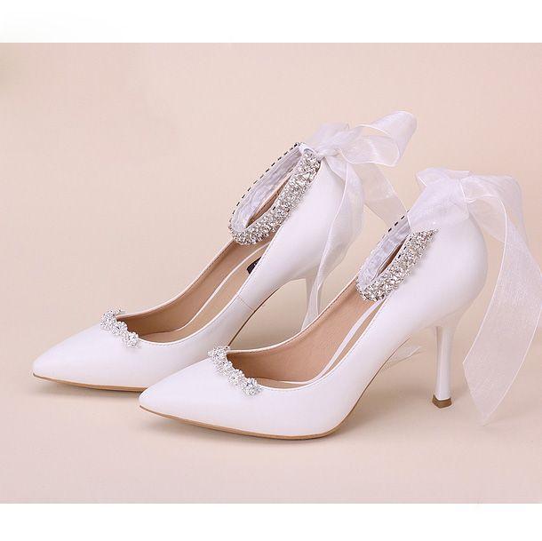 chaussure de mariée escarpin blanc talons hauts aiguille en simili cuir aux strass escarpin pas cher