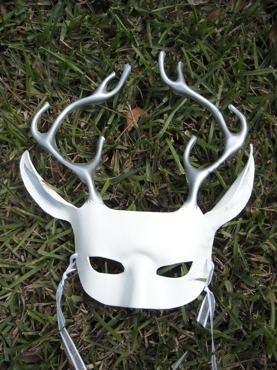 Winter Deer Mask  White and Silver Stag by MythicMasks on Etsy, $65.00