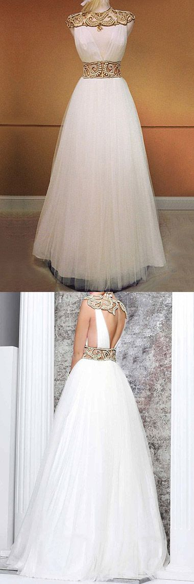 White Prom Dresses Long, 2018 Formal Dresses A-line, Tulle Party Dresses High Neck, Cheap Evening Gowns with Beading Open Back