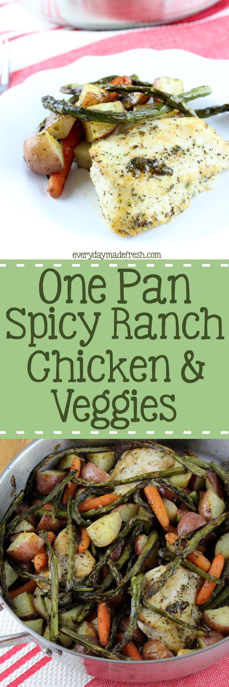 In a perfect world there are no dishes to clean up after dinner. Unfortunately, we don't live in a perfect world; which is why this One Pan Spicy Ranch Chicken & Veggies is perfect! Less to clean up!| Everydaymadefresh.com http://www.everydaymadefresh.com/one-pan-spicy-ranch-chicken-veggies/