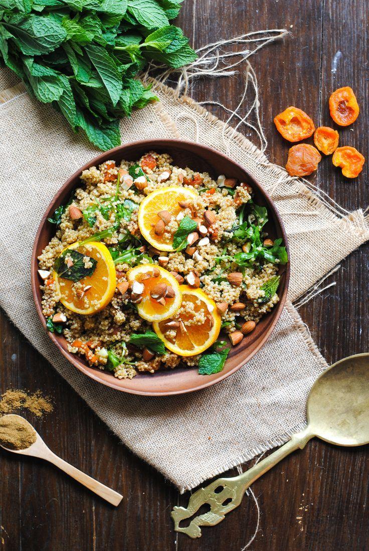 Orange, Mint and Apricot Moroccan Quinoa Salad. Can be prepared dairy free