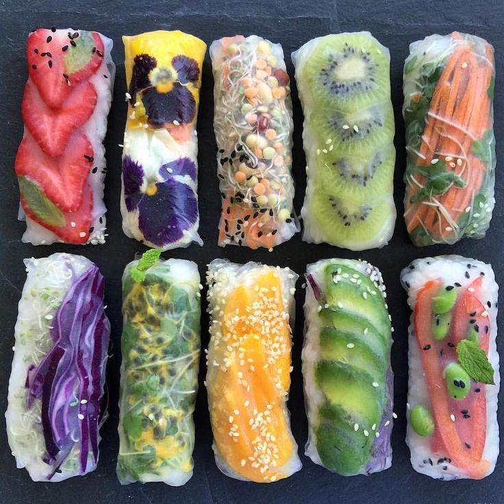 Fruit and veggie rice paper rolls by @raw_manda by huntergathererapp