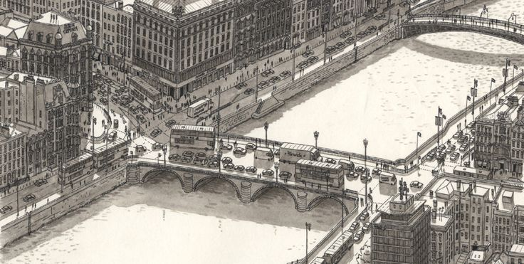 Intricate cityscape drawings done from memory by Stefan Bleekrode