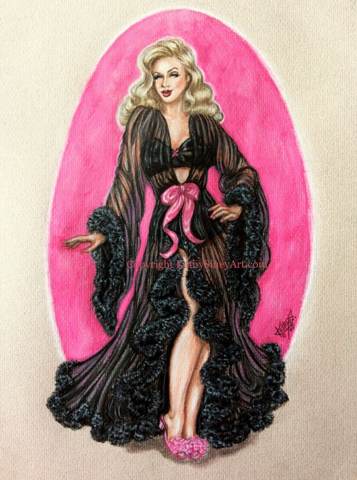 Hollywood glamour pin up, drawn using Faber Castell coloured pencils.