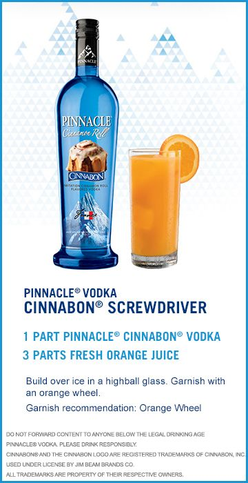 Check out this Pinnacle® Vodka Drink Recipe: Cinnabon Screwdriver!