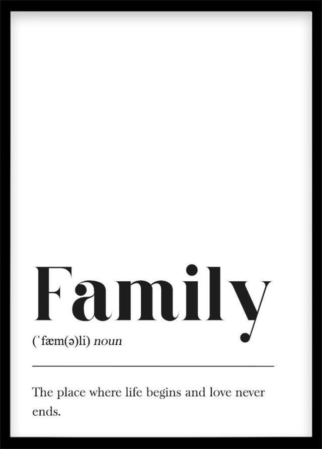 Familiendefinition, Wandposter, skandinavisches Poster, Hausgeschenk mit schwarz-weißem Schriftzug …