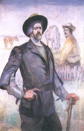 Jacek Malczewski - Self-portrait (1921) with Mieczyslaw Gąseckim
