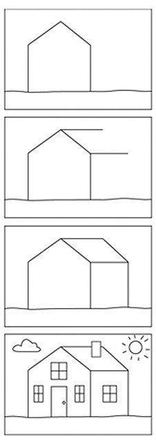 huis leren tekenen voor kids