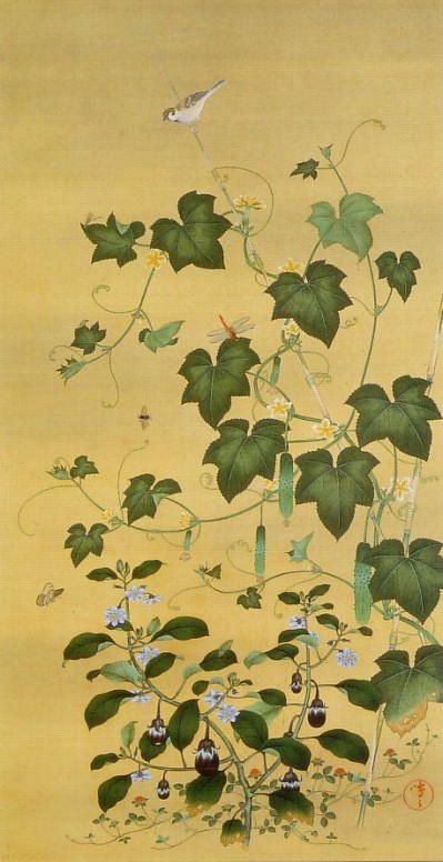 Suzuki Kiitsu 鈴木其一 蔬菜群虫図
