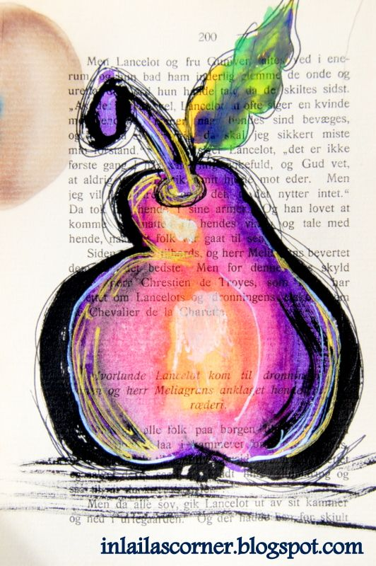 Funny pear made on old book paper. Watercolors and ink.