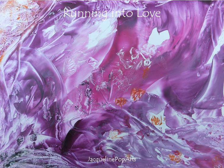 Running into Love, encaustic art by JacquelinePopArts  - Art with a Heart - Valentijn - Valentines Day