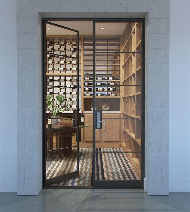 Grid Style Steel Windows Doors Abby Iron Doors In 2020 Glass Wine Cellar Home Wine Cellars Iron Doors