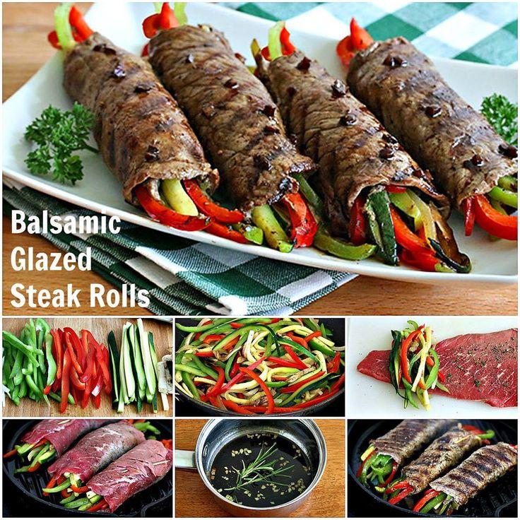 Balsamic Glazed Steak Rolls. daringgourmet.com