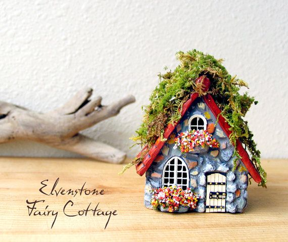 elvenstone fairy cottage miniature polymer clay house with layered terracotta roof flower boxes and wooden door with wrought iron accents - Gnome House S Design