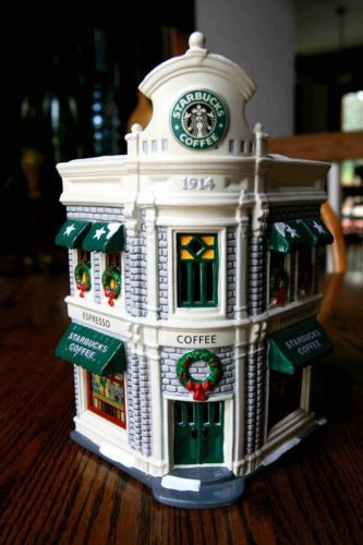 """@Lynne {Papermash} Steele you need this for your village!! Department 56 Snow Village """"Starbuck's Coffee"""""""