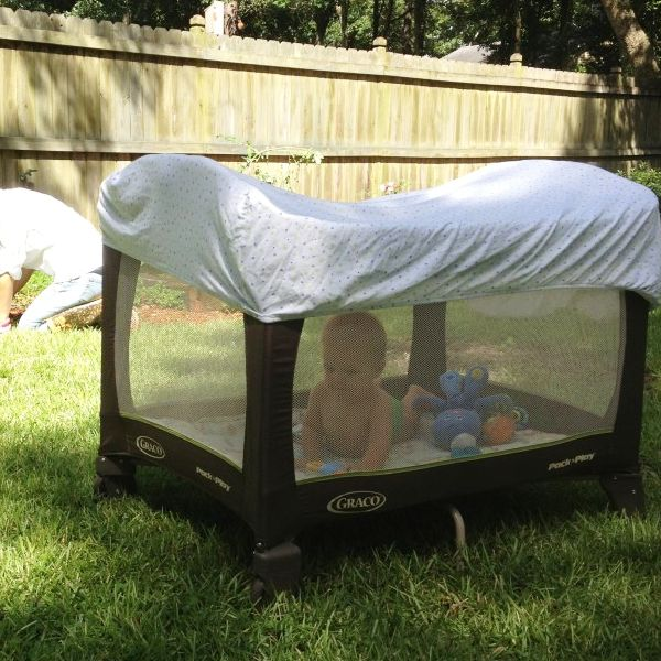 So that baby wont be BUGGED while outside in the summer and it provides shade while you work in the yard .......  diy home sweet home: 50+ Insanely, Brilliant Parenting Hacks