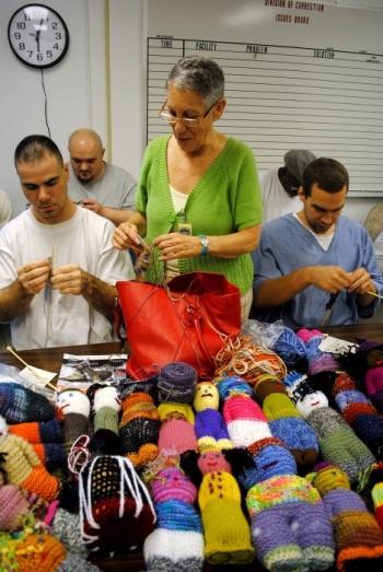 Prison inmates learn social skills through knitting