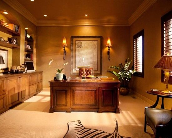Executive office style inspiration woods lighting artwork warm neutral walls office Home office room design ideas