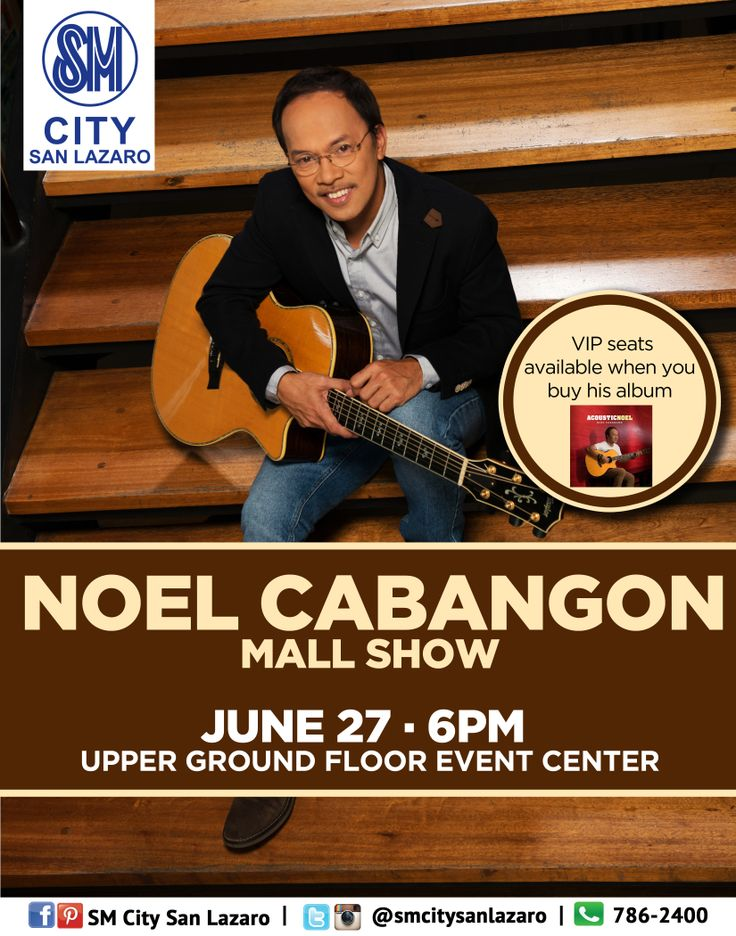 He is known for composing socially-relevant songs such as Kanlungan and Tatsulok.  NOEL CABANGON live on June 27 here at SM CITY SAN LAZARO!  See you all 6pm at the Upper Ground Floor Event Center!