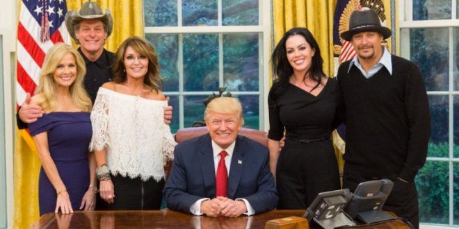 Pants-Shitting Racist Draft Dodger Ted Fucking Nugent, That Goddam Idiot Sarah Fucking Palin, And That Asshole Kid Fucking Rock Visit Trump At The Oval Office.