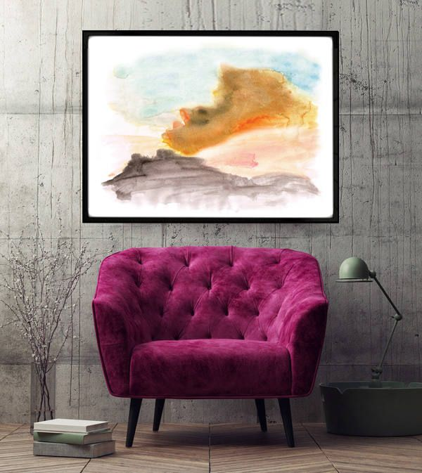 "Poster ""Black mountains"", Beautiful poster, Housewarming Gift, Beautiful Poster, Interior Decoration, Abstract Poster, Fire by MerryGallery on Etsy"