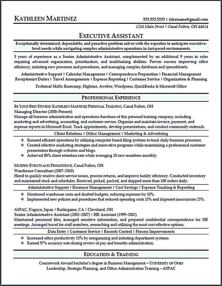 resume for executive assistant executive assistant resume