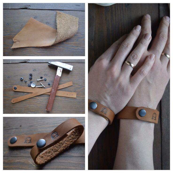 """Кусок кожи, клепки и наковальня– браслеты на """"кожаную свадьбу"""". #кожа #браслет #leather"""