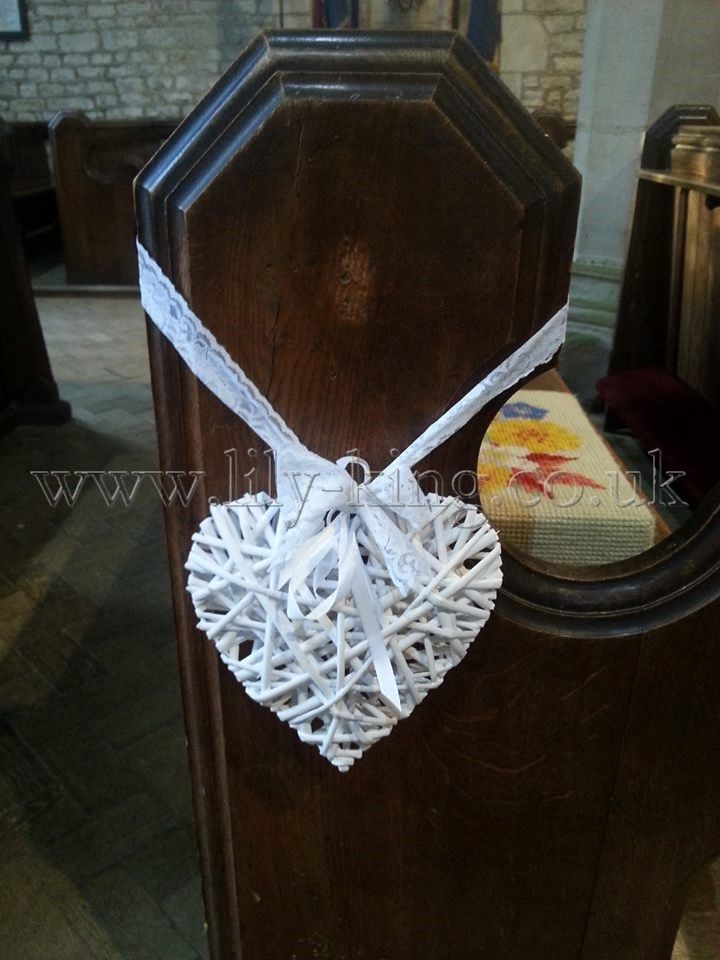 White Wicker Heart Pew End By Lily King Weddings