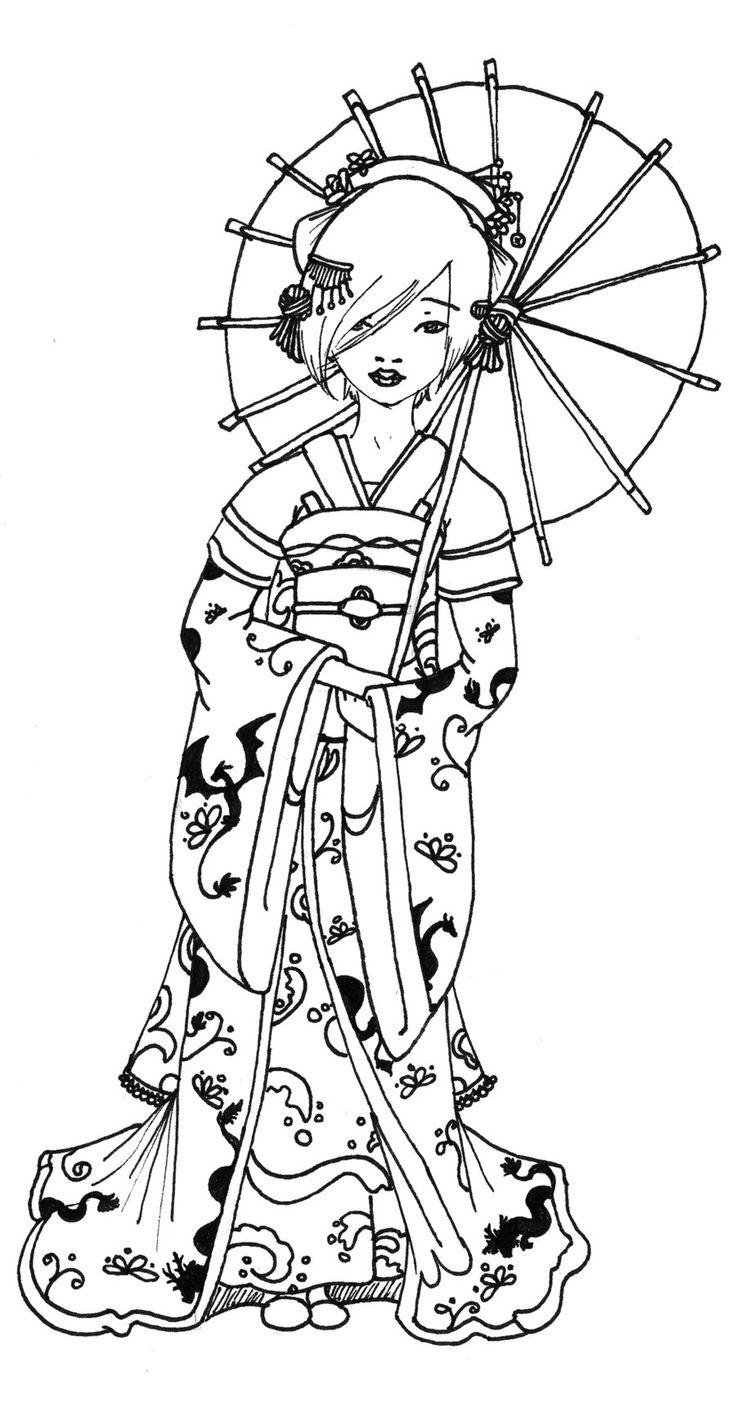 Japanese princess coloring pages - Geisha Coloring Pages Google Da Ara