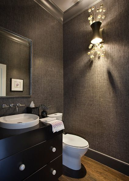 Website Photo Gallery Examples sleek contemporary powder room with grass cloth covered walls