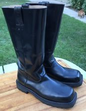 John Fluevog Men's Black Leather Motorcycle Riding Boots Size 10 Tall Square Toe