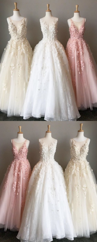 0b4bfa34b5a9 A-Line Round Neck Floor-Length Light Prom Dress with Appliques M1906 ...