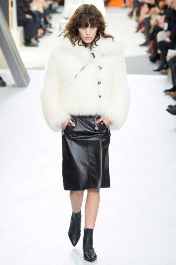 White fur and black leather skirt collection of Louis Vuitton fall winter 2015 2016