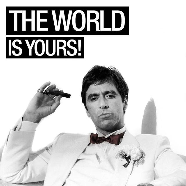 The World is Yours! #AlPacino #AlfredoJamesPacino #Actor #Filmmaker #Scarface #Godfather #Gangster #BrianDePalma #MartinBregman #GiorgioMoroder #PushItToTheLimit #TheWorldIsYours #Power #Money #Status #Success #Character #PaulEngemann #Crime #Movie #1983 #TonyMontana #Tony #Montana #MichellePfeiffer