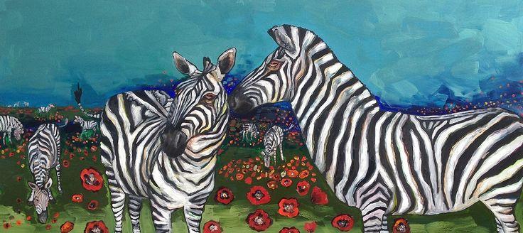 Poppy Field of Zebras by Eli Halpin