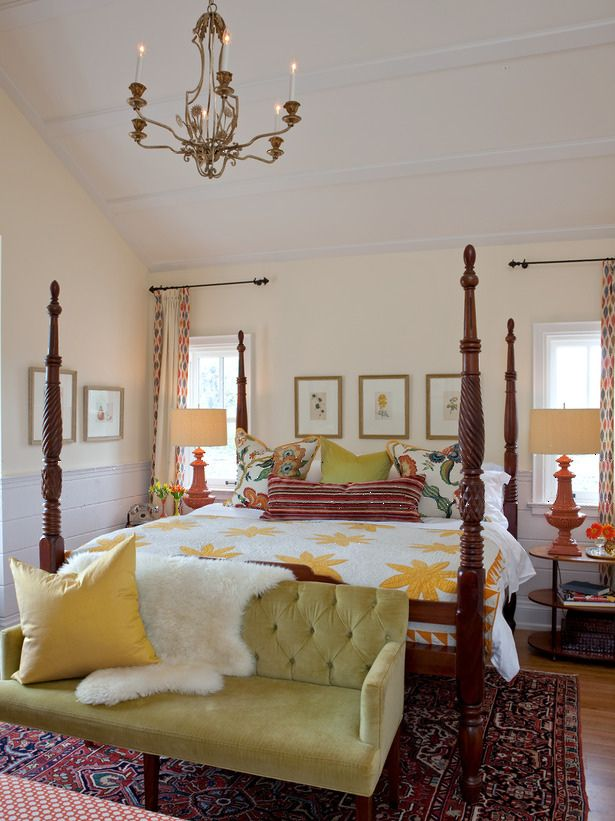 Eclectic colorful bedroom.  Blending in a heavy 4 poster bed with modern and traditional pieces.
