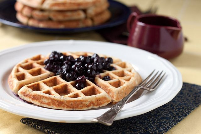 Lemon Poppy Seed Yogurt Waffles with Blueberry Syrup | Recipe